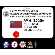 Printed Amateur Radio Badge w/ US Flag