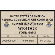 Printed Amateur Radio License Badge